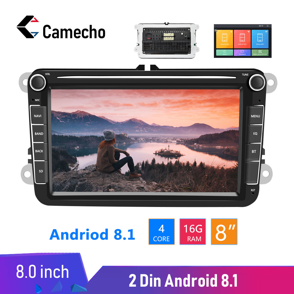 Camecho Android 8.1 2Din Car MP5 Multimedia Video Player <font><b>GPS</b></font> Car Radio <font><b>Autoradio</b></font> Stereo Audio For Seat/Skoda/Passat/Golf/Polo image