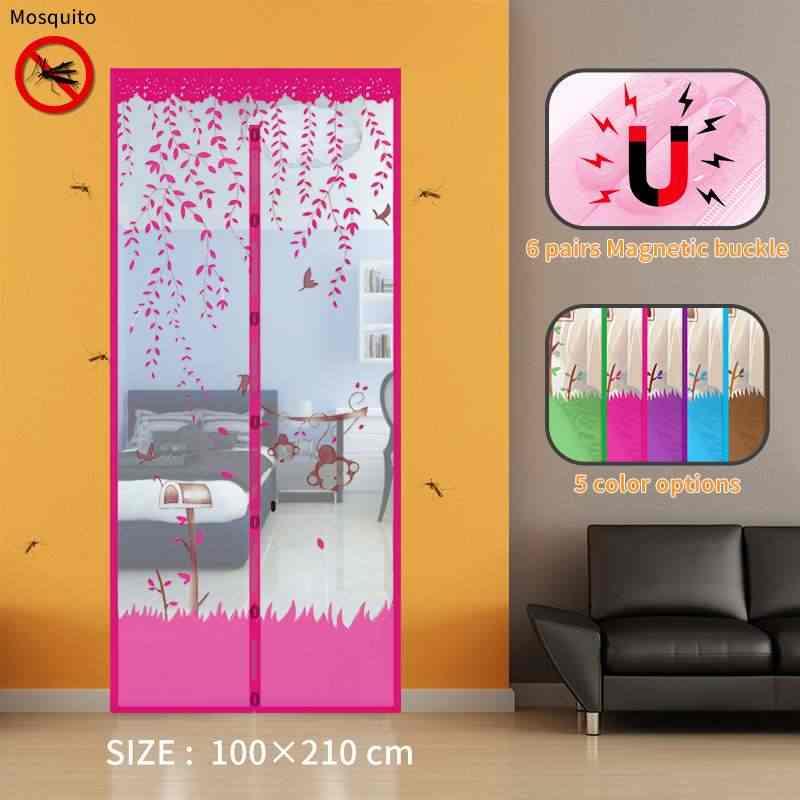 Otomatis Menutup Mesh Anti Nyamuk Serangga Terbang Serangga Tirai Magnetic Mesh Net Layar Pintu Dapur Tirai 5 Warna Musim Panas