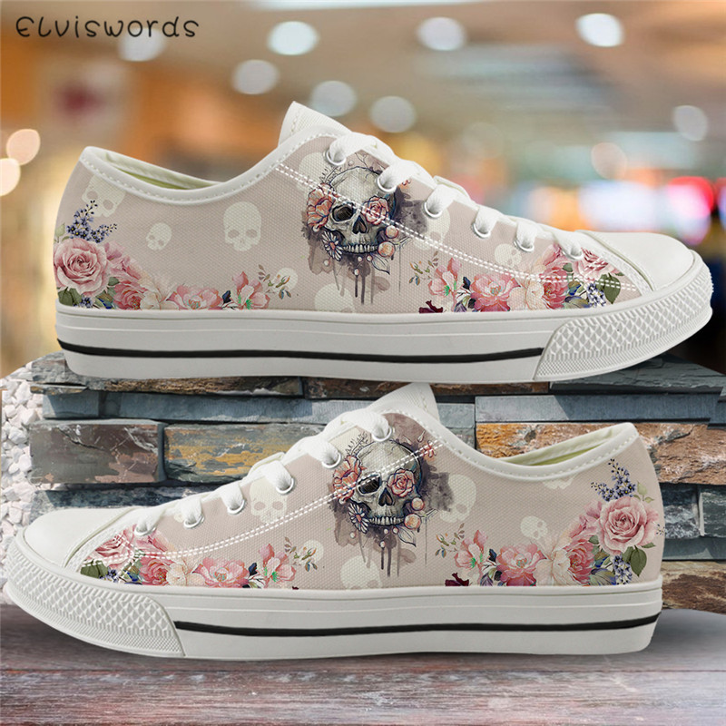 ELVISWORDS Beauty Skull Rose Print Women Flats Canvas Vulcanized Shoes For Ladies Girls High Quality Sneakers Outdoor Footwear