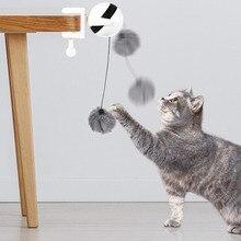 Electronic Motion Cat Toy Interactive Teaser Yo-Yo Lifting Ball Cute Plush Fur Pet Training