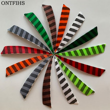 50pcs/lots 4 Shield Hunting Arrow Feathers Striped Turkey Feather Archery Accessories 11 Color Fletching FT51