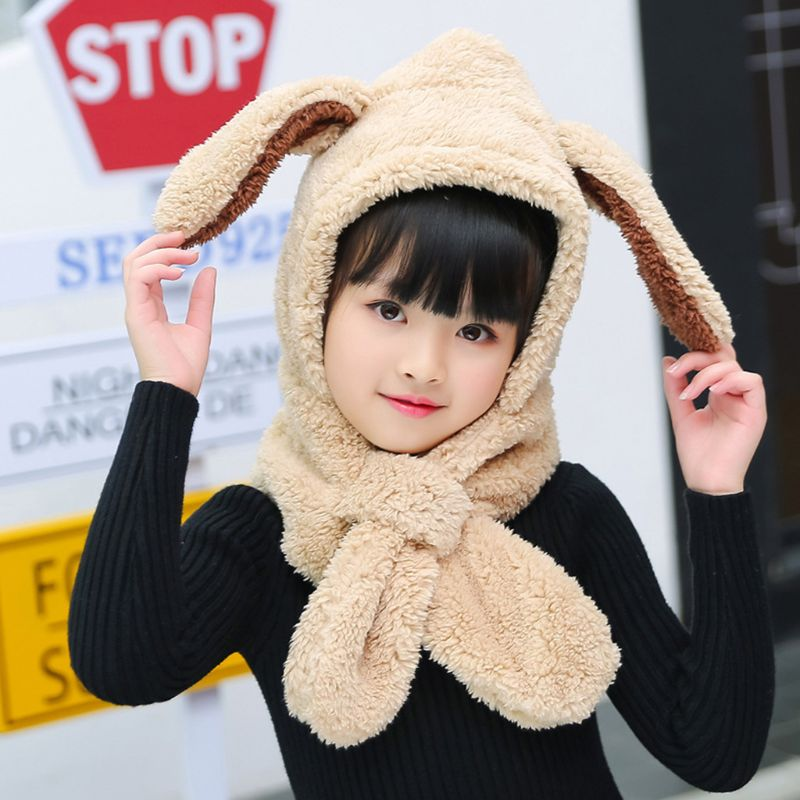 2019 Baby Kids Winter Plush Warm Hat Hooded Scarf Cute Bunny Ears Earflap Beanie Cap