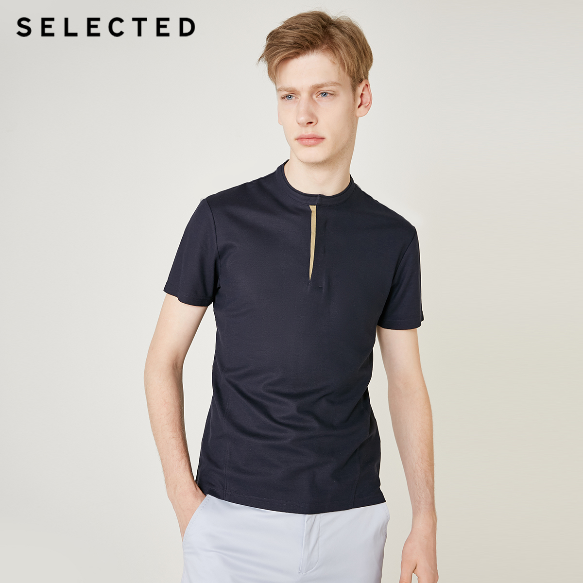 SELECTED Men's Slim Fit Stand-up Collar Short-sleeved Poloshirt  S 419206532