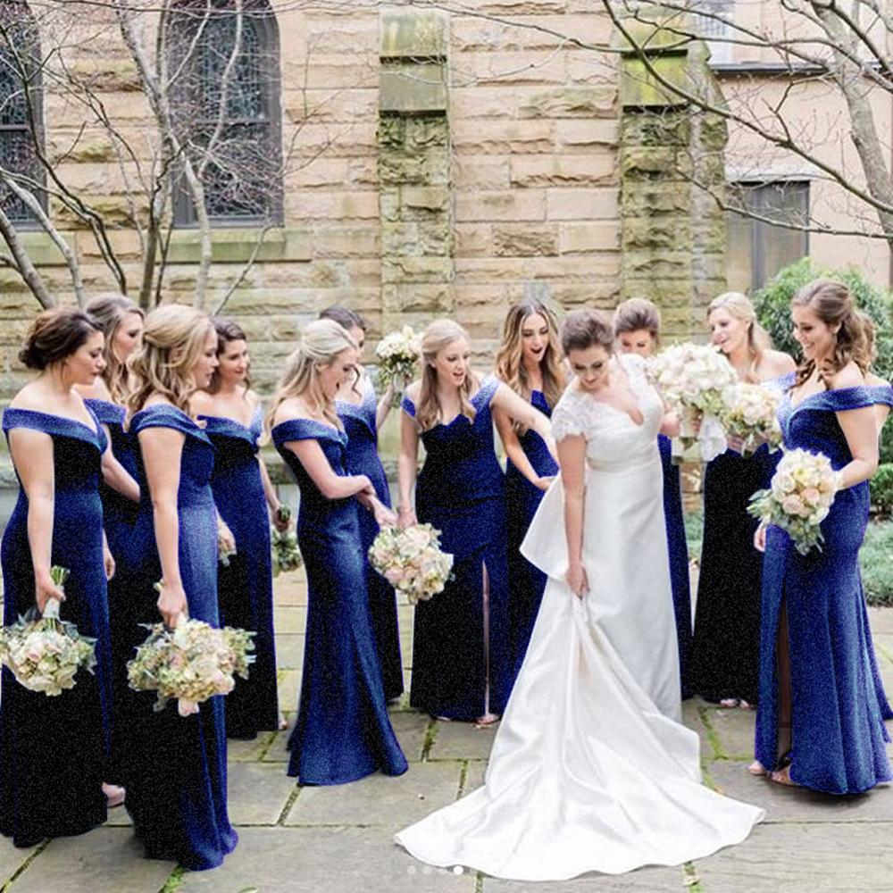 VKBRIDAL Royal Blue Bridesmaid Dresses 2019 Sparkle Glitter Fabric Off Shoulder Mermaid Formal Prom Gowns Vestidos De Festa