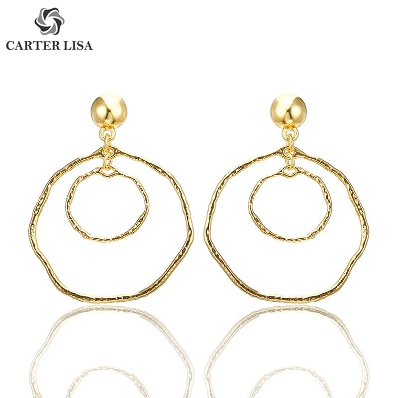 CARTER LISA Hot Handmade Fashion Simple Geometric Circular Marble Long Earrings Temperament Girls Popular Stud European Jewelry