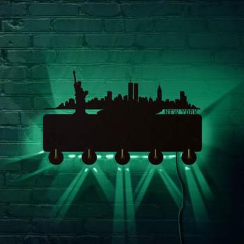Statue of Liberty New York City LED Lighted Wooden Wall Hook Key Hanger Bathroom Kitchen Decor Retro Holder US Skyline Coat Rack
