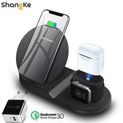 Беспроводной Зарядное устройство подставка для iPhone AirPods Apple Watch, док-станция для зарядки Зарядное устройство для наручных часов Apple Watch Series 5/4/...