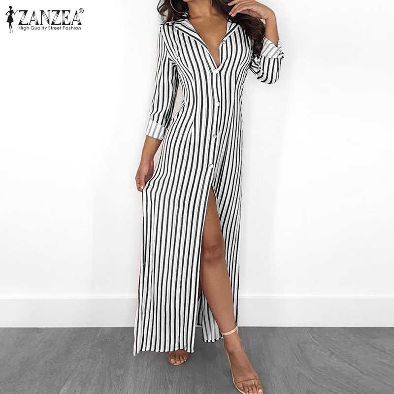 Zanzea Strepen Lange Maxi Jurk 2020 Zomer Vrouwen Knoppen Down Lange Shirt Vestidos Casual Beach Zonnejurk Sexy Hoge Split Robe 5XL