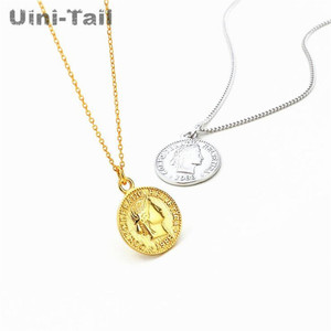Uini-Tail Hot Sale New 925 Sterling Silver Dime Coin Pendant Necklace Retro Portrait Necklace Simple Fashion Personality Jewelry