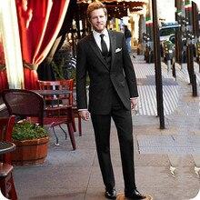 Мужские черные костюмы для свадьбы, приталенный мужской пиджак, остроконечные лацканы, смокинги для жениха, 3 штуки, мужской костюм Terno Homme