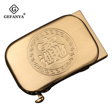 GEFANYA Fashion Men Solid Brass Copper Buckle Anti allergy Automatic Belts Buckle Ratchet Leather Belt Waistband Accessories 3.5