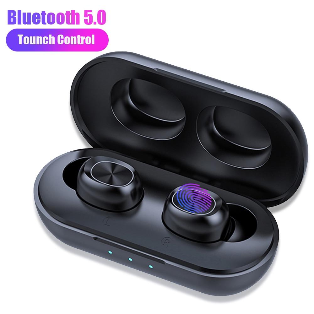 B5 TWS Bluetooth Headphone Wireless Earphone 5.0 Touch Control Waterproof 6D Stereo Sport Music Headset 300mAh Charging Box
