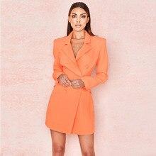 Sonbahar bahar zarif ünlü parti kadın elbise turuncu uzun kollu v yaka düğmesi seksi kulübü pist Mini elbise kadın Vestidos