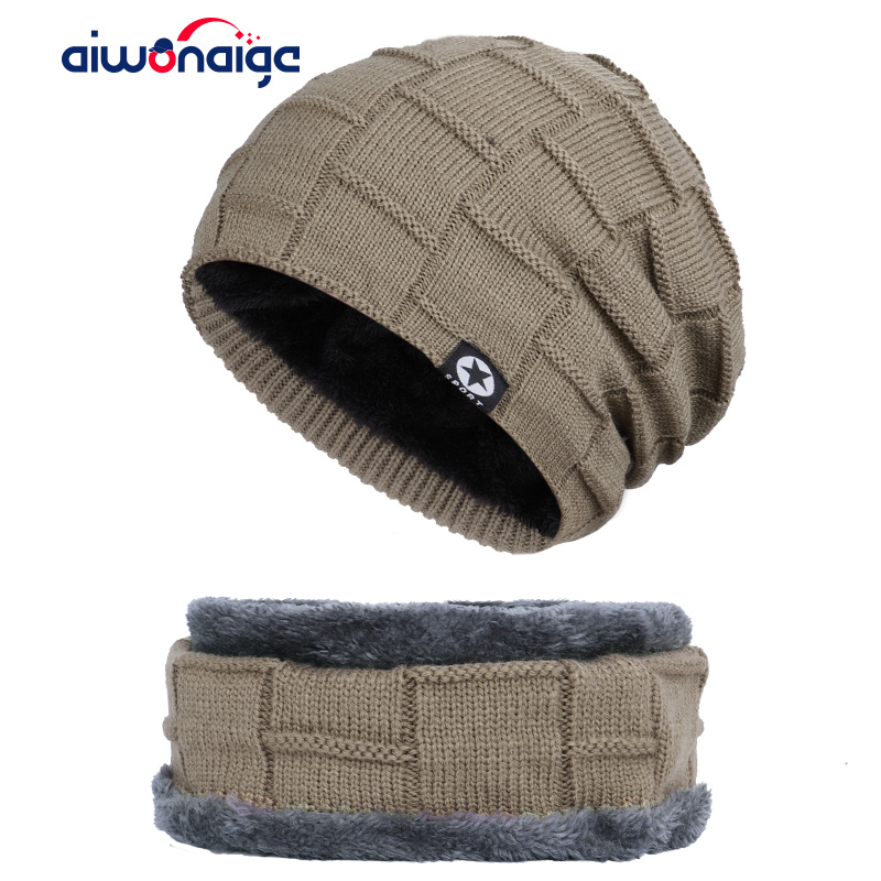2019 New Winter Men's Hat Scarf Warm Five-star Plus Velvet Suit Men's Knit Hat Ski Mask Peas High Quality Cotton Turban Cap Bib