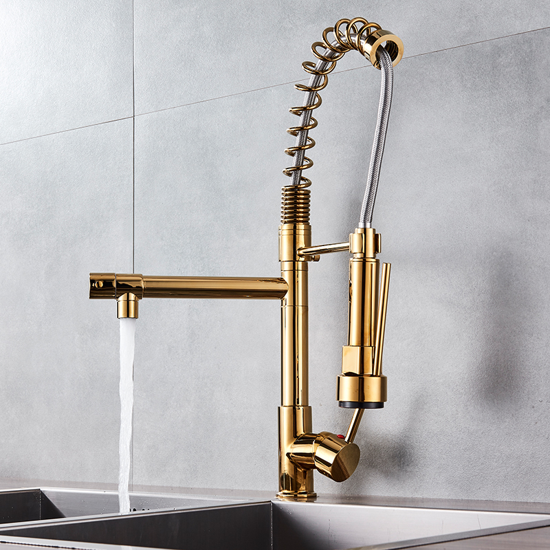 Hd106abb6ff3246808b87a92da680c7ddS Uythner Black Brass Kitchen Faucet Vessel Sink Mixer Tap Spring Dual Swivel Spouts Hot and Cold Water Mixer Tap Bathroom Faucets