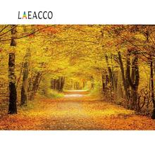 Laeacco Autumn Forest Tree Backdrops For Photography Maples Yellow Fallen Leaves Scenic Photographic Backgrounds Photo Studio