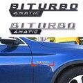 1 paar BITURBO 4MATIC Abzeichen Seite Körper Fender Brief Logo Trim 3D Aufkleber Für Mercedes Benz B E C S Klasse CLS GLC GLS Auto Styling-in Autoaufkleber aus Kraftfahrzeuge und Motorräder bei