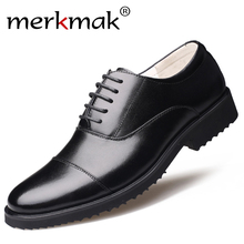 Merkmak New Fashion Oxford Business Men Shoes Genuine Leathe