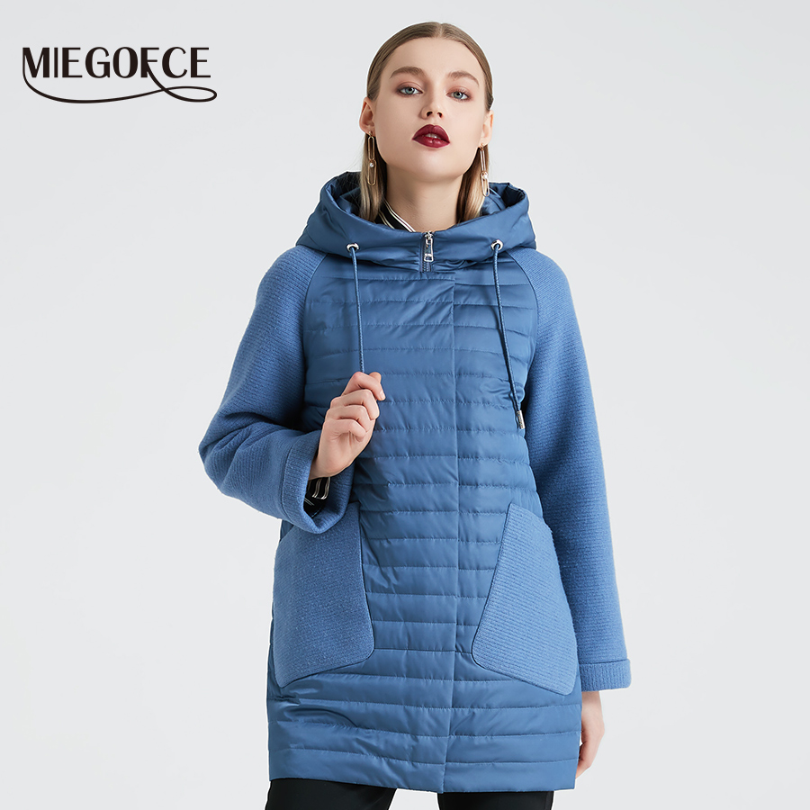 MIEGOFCE 2020 New Collection Women's Spring Jacket Stylish Autumn Coat With Hood And Patch Pockets Double Protection From Wind