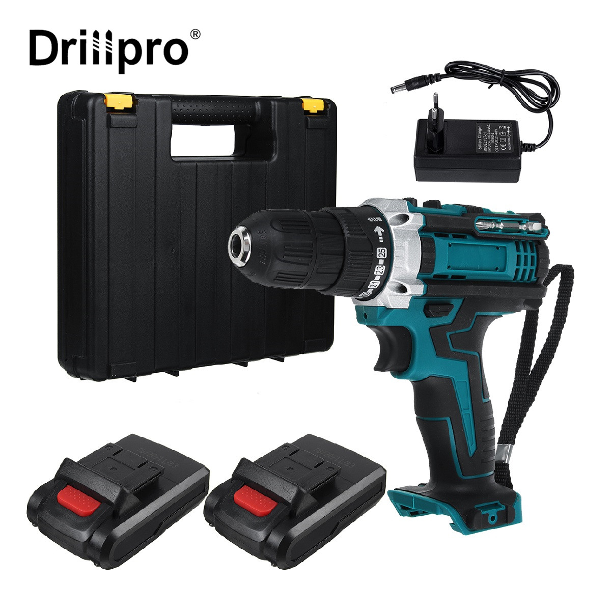 25+3/25+1 Torque Cordless Brushless Electric Drill Impact Screwdriver Rechargable Power Tool with Battery & Box