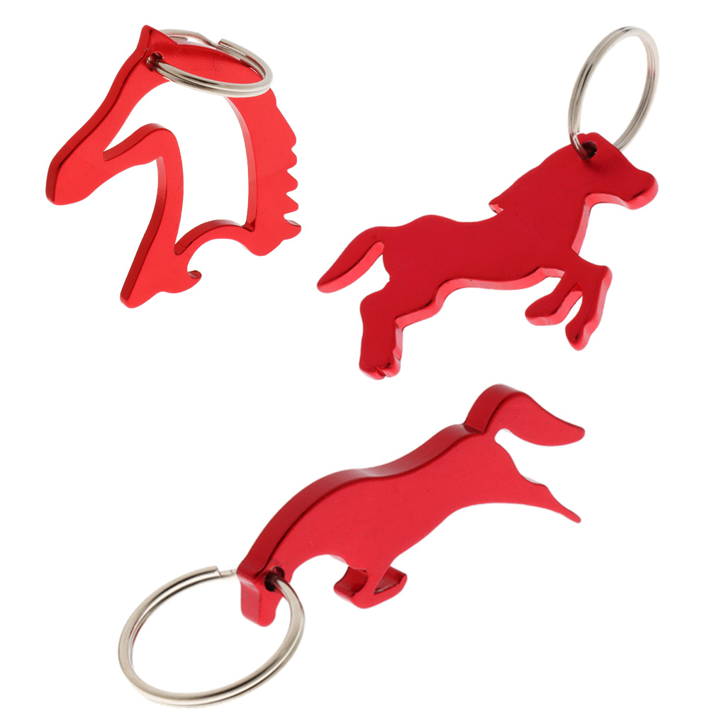 3 Style Aluminum Horse Pattern Can Bottle Opener Keyring Keychain Bag Pendent - Red
