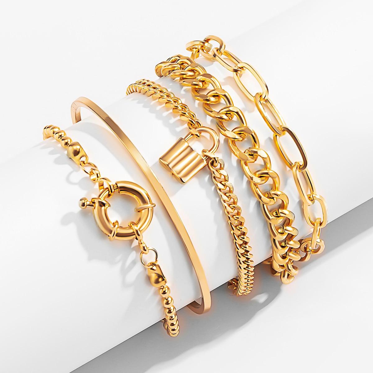 PuRui 5PCS/set Multilayer Gold Color Chain Bracelets & Bangles for Women Men Lock Chunky Bracelet Couples Boho Jewelry Gift