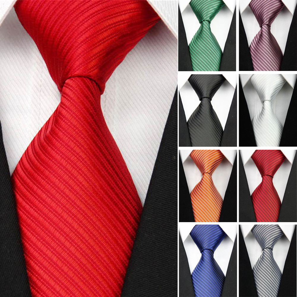 Men's Wide Silk Ties Striped Solid 10cm Men's Business Wedding Suit Neck Tie Black White Blue Gravatas Mens Gift *RUSSIA STOCK