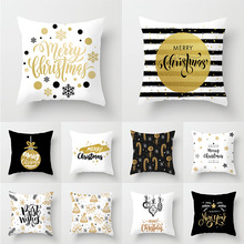 45X45CM New Merry Christmas Decorative Throw Pillow Cushion Cover Xmas Polyester Home Decor Black White Printed Pillowcase