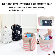 Round Waterproof Makeup Bag Travel Drawstring Toiletry Cosmetic Portable Bags Organizer Large Capacity Pouch SLWQ