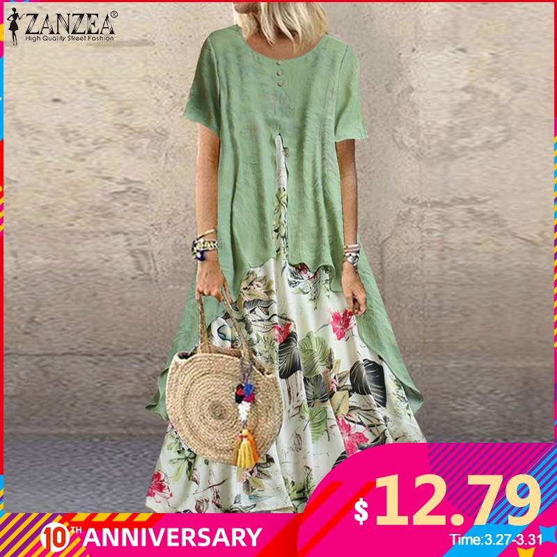 ZANZEA Summer Short Sleeve Dress Women Vintage Floral Printed Pacthwork Long Sundress Casual Retro Party Vestido Femme Dresses