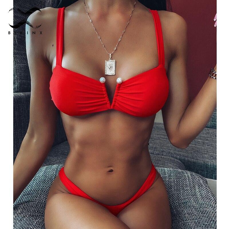 Solid Red Bikini Set 2020 Pleated Swimsuit Female V Neck Pearl Bathers Push Up Swimwear Women High Cut Bathing Suit Biquini New