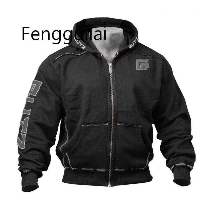 FENGGUILAI Fall Thin Fitness Hooded Sweatshirt Black Big Pocket Hoodie Men Sport Gym For Zipper Long Sleeve Coat