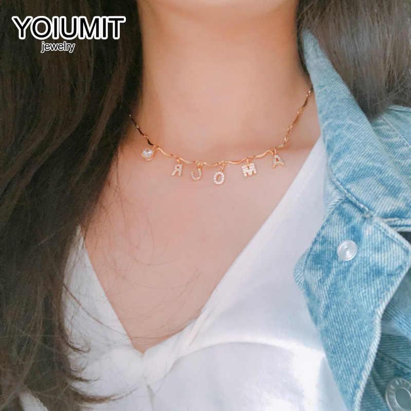 Yoiumit breloque nom personnalisé collier ras du cou lettre Zircon collier femmes fille or argent lettre collier bijoux personnalisés