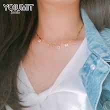 Yoiumit 매력 맞춤 이름 목걸이 초커 편지 지르콘 목걸이 여자 여자 골드 편지 목걸이 쥬얼리