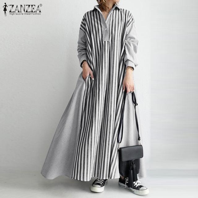 wonderful maxi dress, stripes, long sleeves, pockets and comfort 4