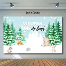 NeoBack Winter Woodland Backdrop Animal Snow First Birthday Photography Backdrops Jungle Safari Party Photo Background