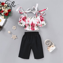 ZAFILLE Summer Baby Clothes 2Pcs Girls Outfits Baby Girl Bandage Girls Clothing Printed Top + Black Pants Toddler Infant Outfits цена 2017