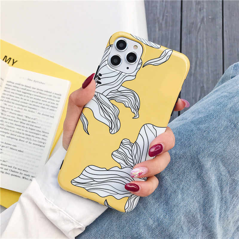 Bunga Case untuk iPhone 11 Pro Max 6 6S 7 7 Plus XR X XS Max Kembali Cover Fashion Kuning ungu IMD Silicone Coque Kulit