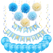 8SEASON Blue Birthday Party Decoration Set  Happy Banner with of 6 Paper Pom Poms Flowers