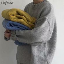 Pull tricoté à manches longues pour homme, pull uni, ample, facile à assortir, surdimensionné, doux et chaud, Style coréen, Simple et Chic, hiver