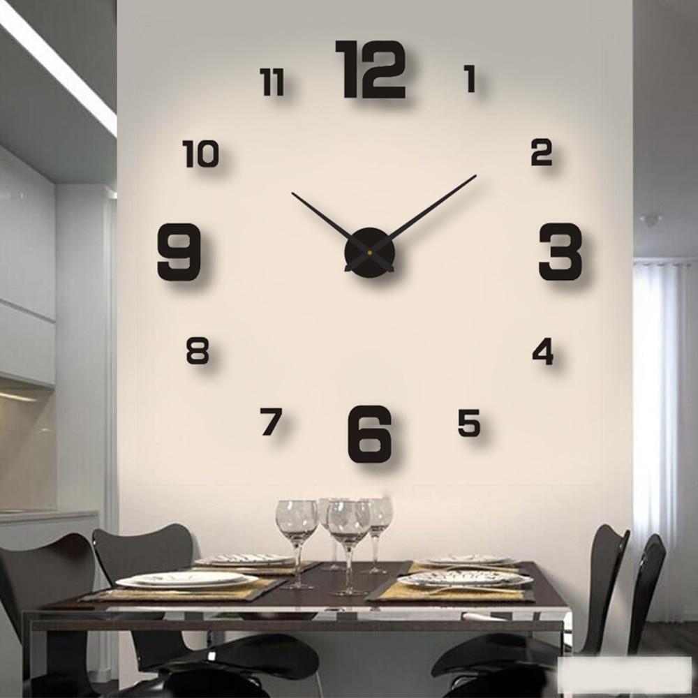 2020 современный дизайн большие настенные часы 3D DIY кварцевые часы модные часы акриловые зеркальные наклейки для гостиной домашний декор Horloge