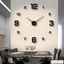 2020 Modern tasarım büyük duvar saati 3D DIY kuvars saatler moda saatler akrilik ayna çıkartmaları oturma odası ev dekor Horloge