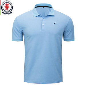 Image 1 - Fredd Marshall 2020 Spring New Classic Solid Polo Shirt 100% Cotton Short Sleeve Casual Blue Polo Shirts Homme Basic Tops 054
