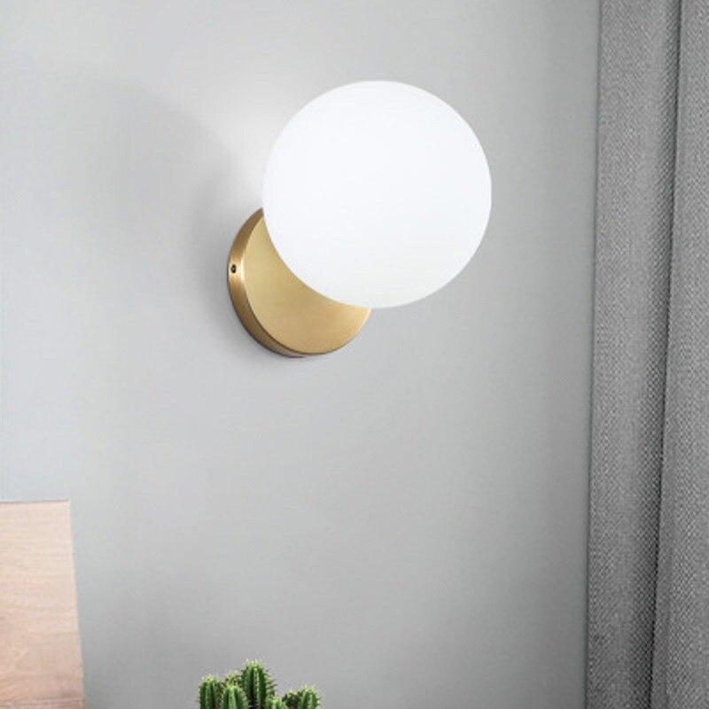 Glass Ball Shade Wall Lights Lamp Gold Metal Light Living Room Restaurant Sconce