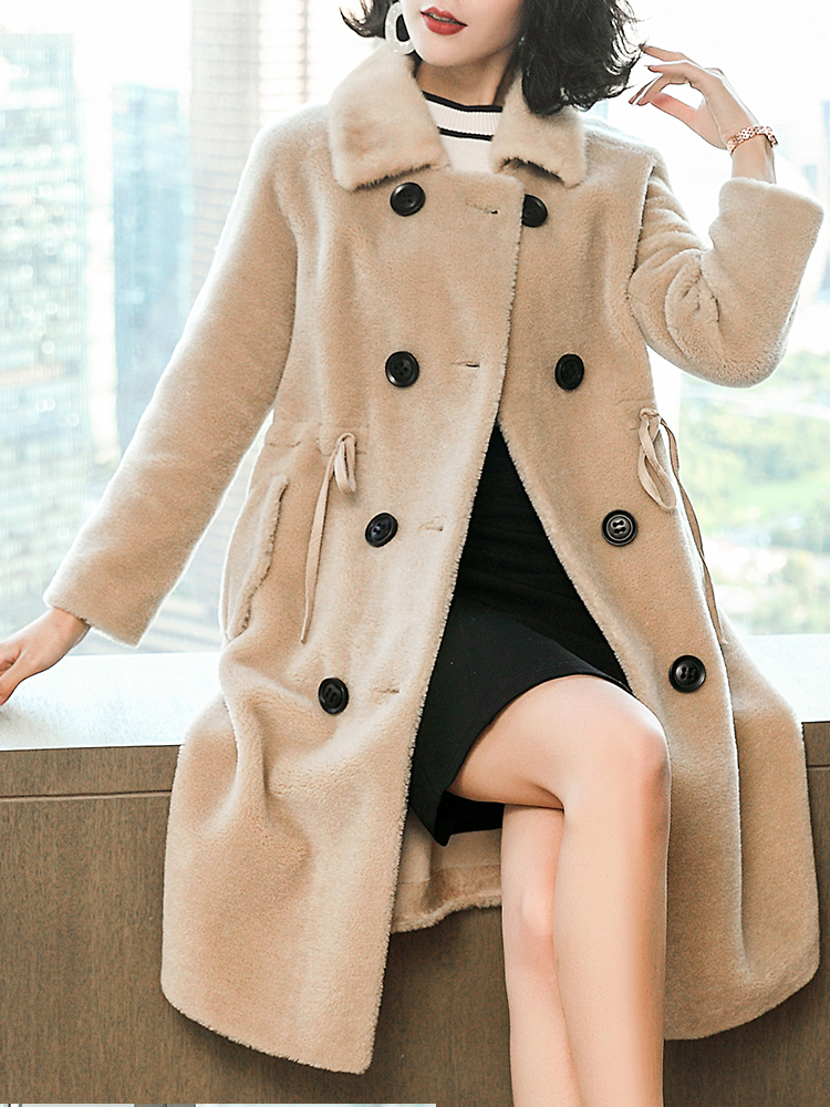 Sheep Real Shearling Fur Coat Winter Jacket Women Mink Fur Collar 100% Wool Coats And Jackets Women Korean Jacket MY3831 S S