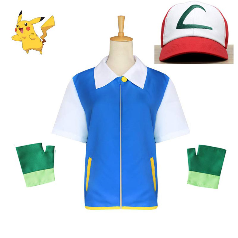Pokemon Ash Ketchum Cosplay Costume Anime Blue Jacket Hat Gloves Sets Kids Adult Ash Ketchum Party Pokemon Costumes Wholesale