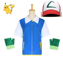 Pokemon Ash Ketchum Cosplay Costume Anime Blue Jacket Hat Gloves Sets Kids Adult Party Costumes Wholesale