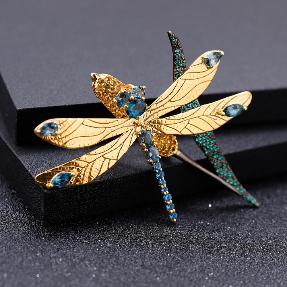GEM'S BALLET Natural London Blue Topaz Dragonfly Wheat ears Brooches For Women 925 Sterling Silver Gold Plated Animal Brooch