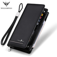 Williampolo wallet men 100% top cow genuine leather men wallet new design long style wallets high quality male purse