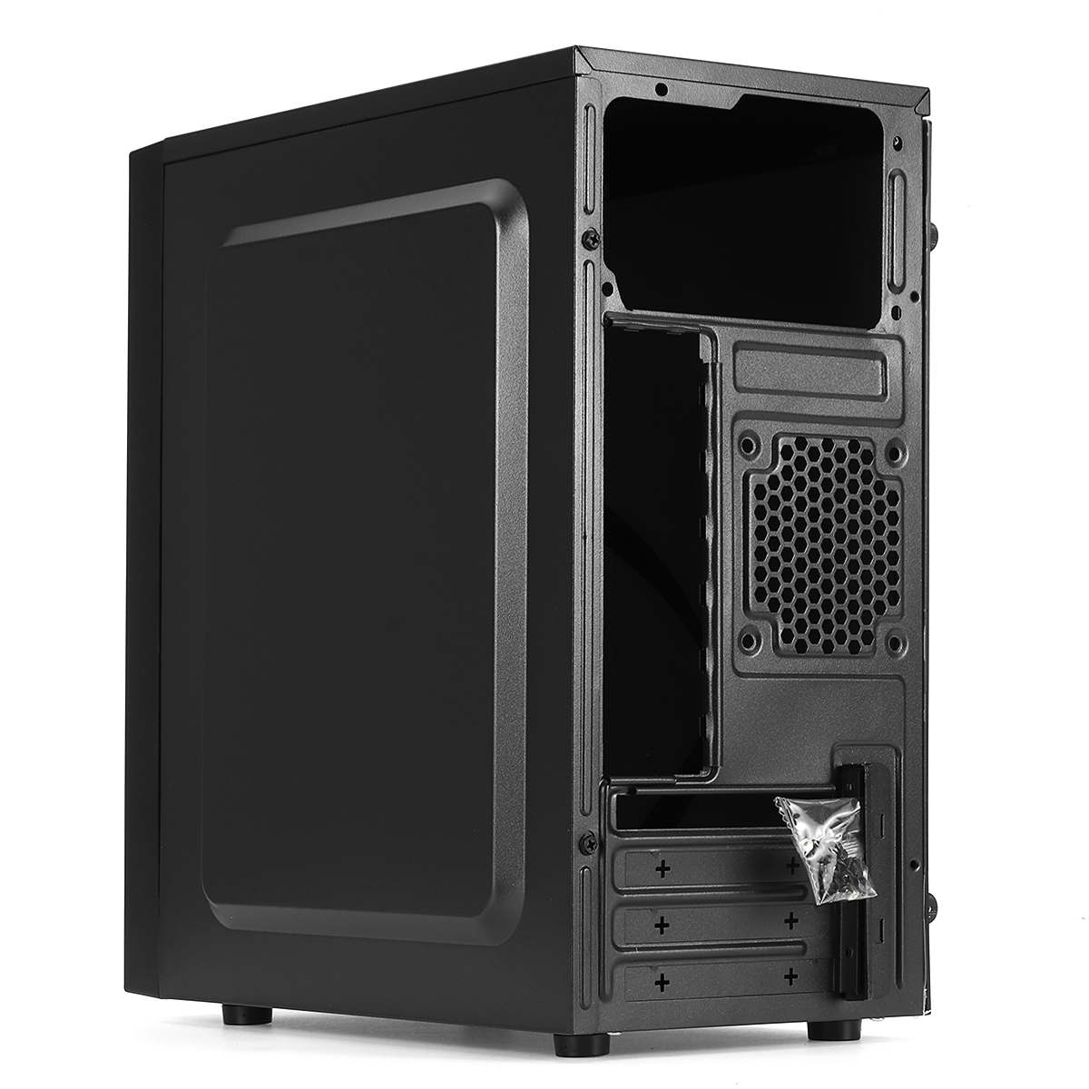 Black PC Case Full Side Ventilation Cooling Case USB3.0 with Light Bar 1 Fan Position Side Through Panel Mini Computer Case